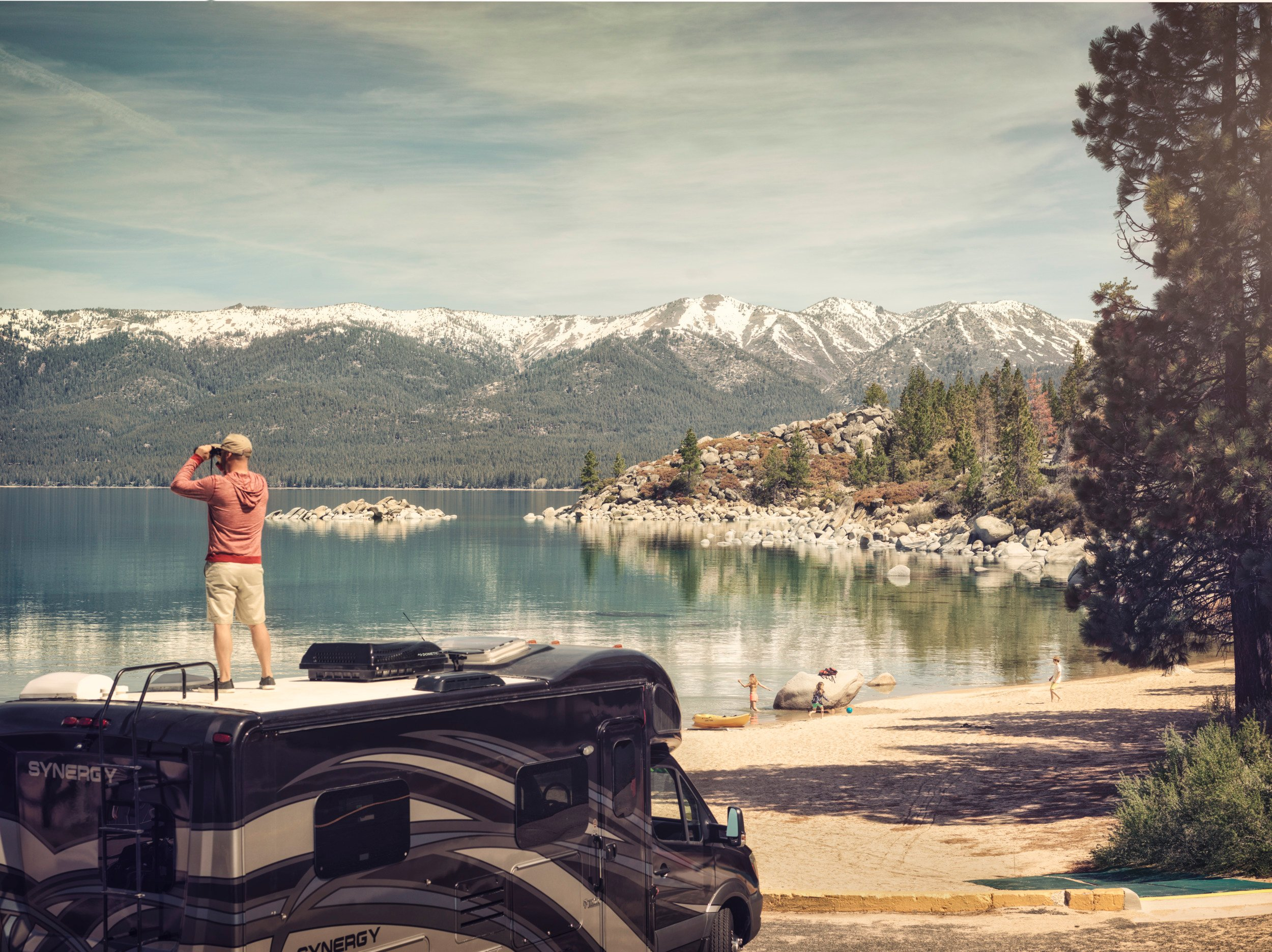 rv, motorhome, lakeside, lake, mountains, snow, skiing, snowboarding, nature, hike, view, binoculars, trees, forrest