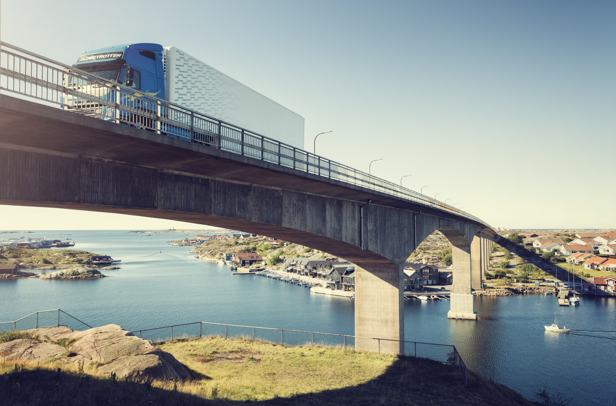 truck, blue truck, bridge, water, city, transportation, travek, volvo, peaceful