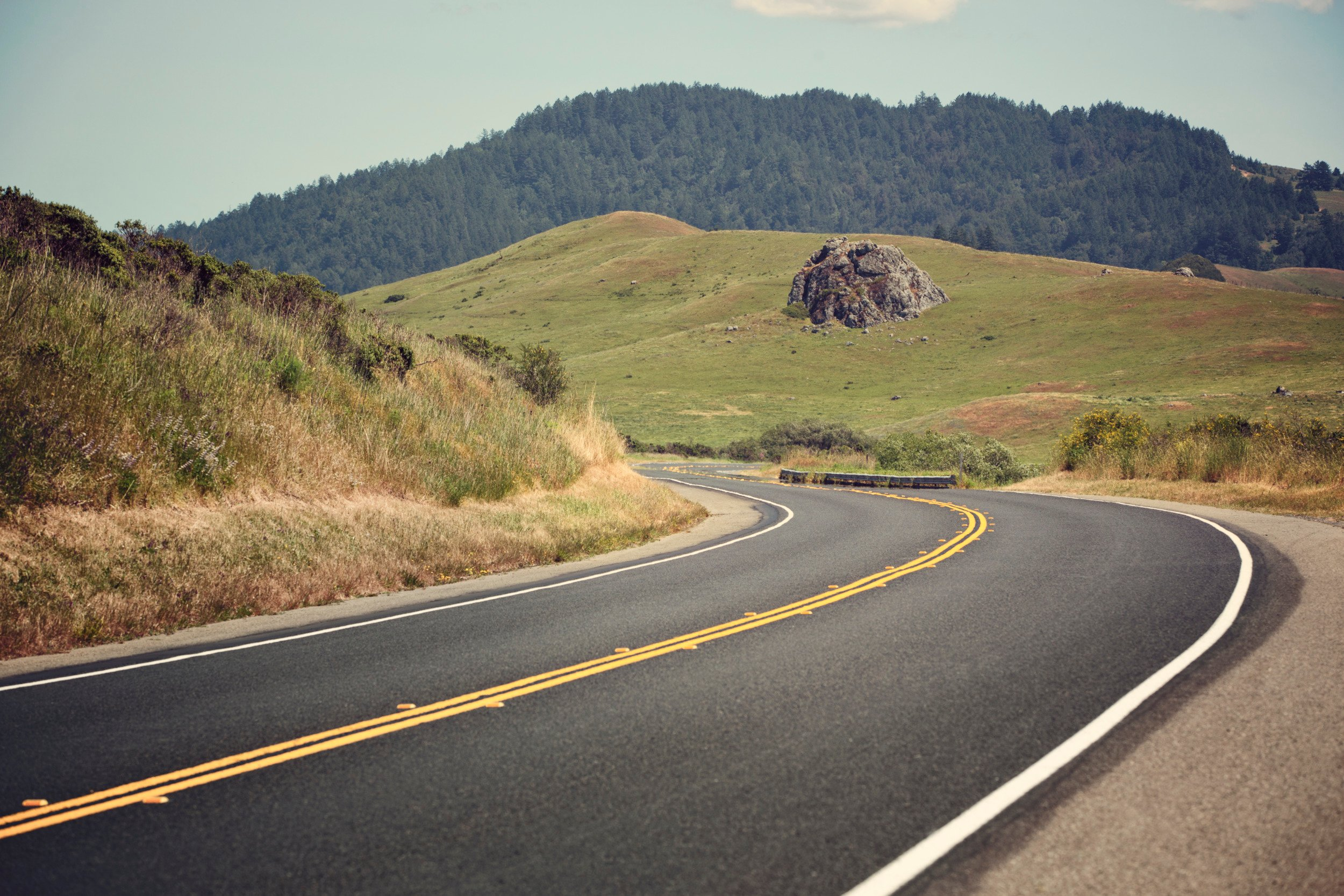 Dometic, road, truck, curve, nature, hill, drive