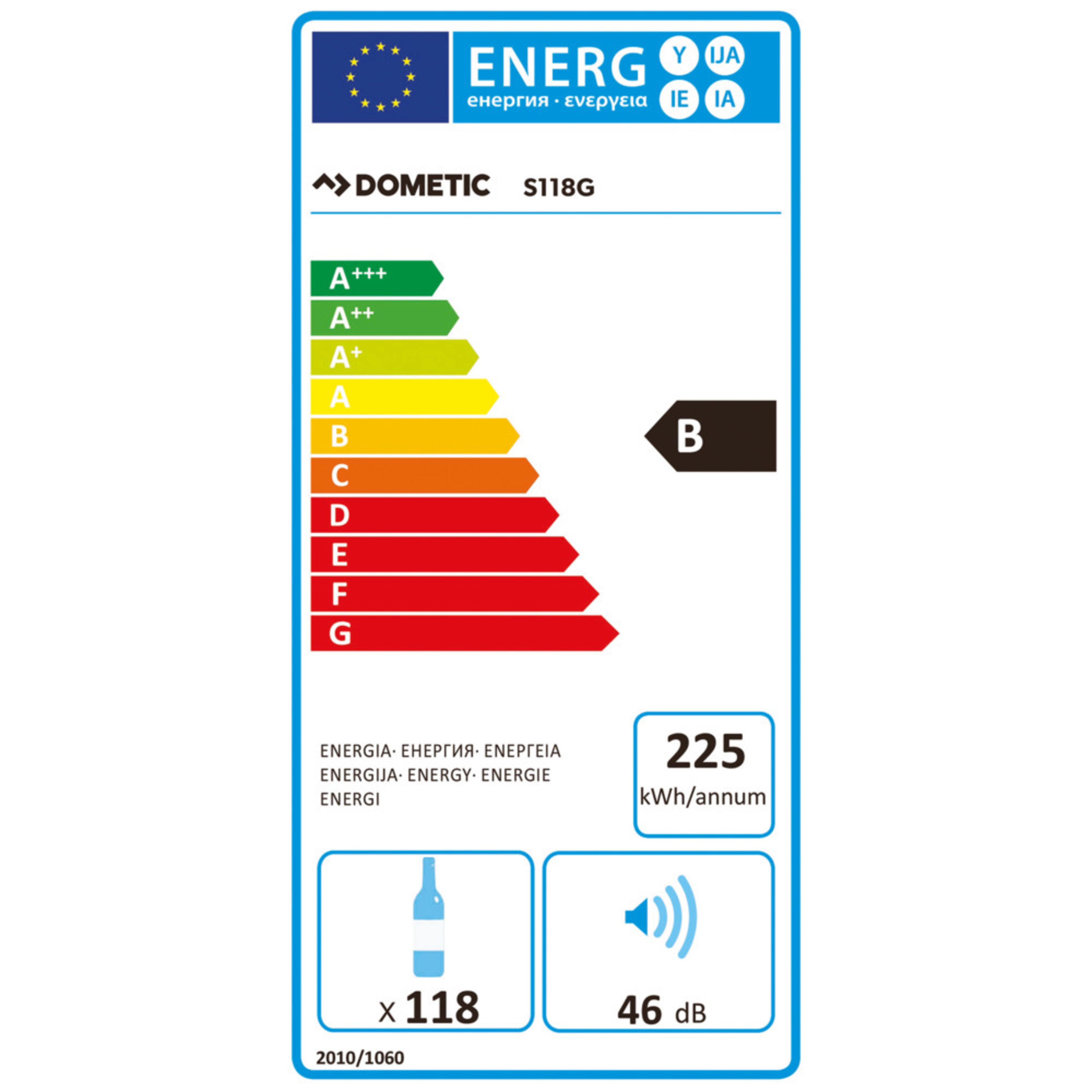Dometic MaCave S118G Energy label