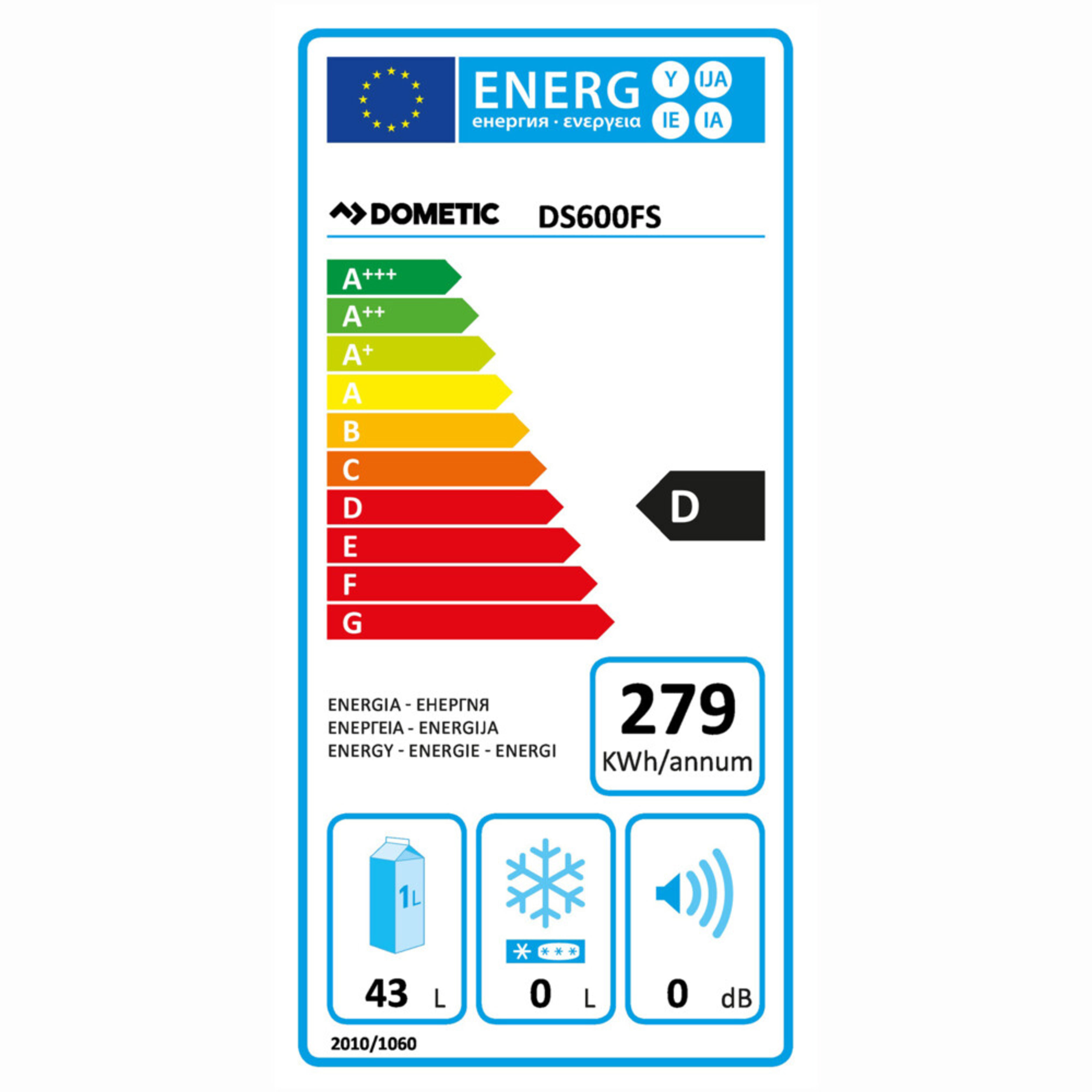 Dometic DS 600 Energy label