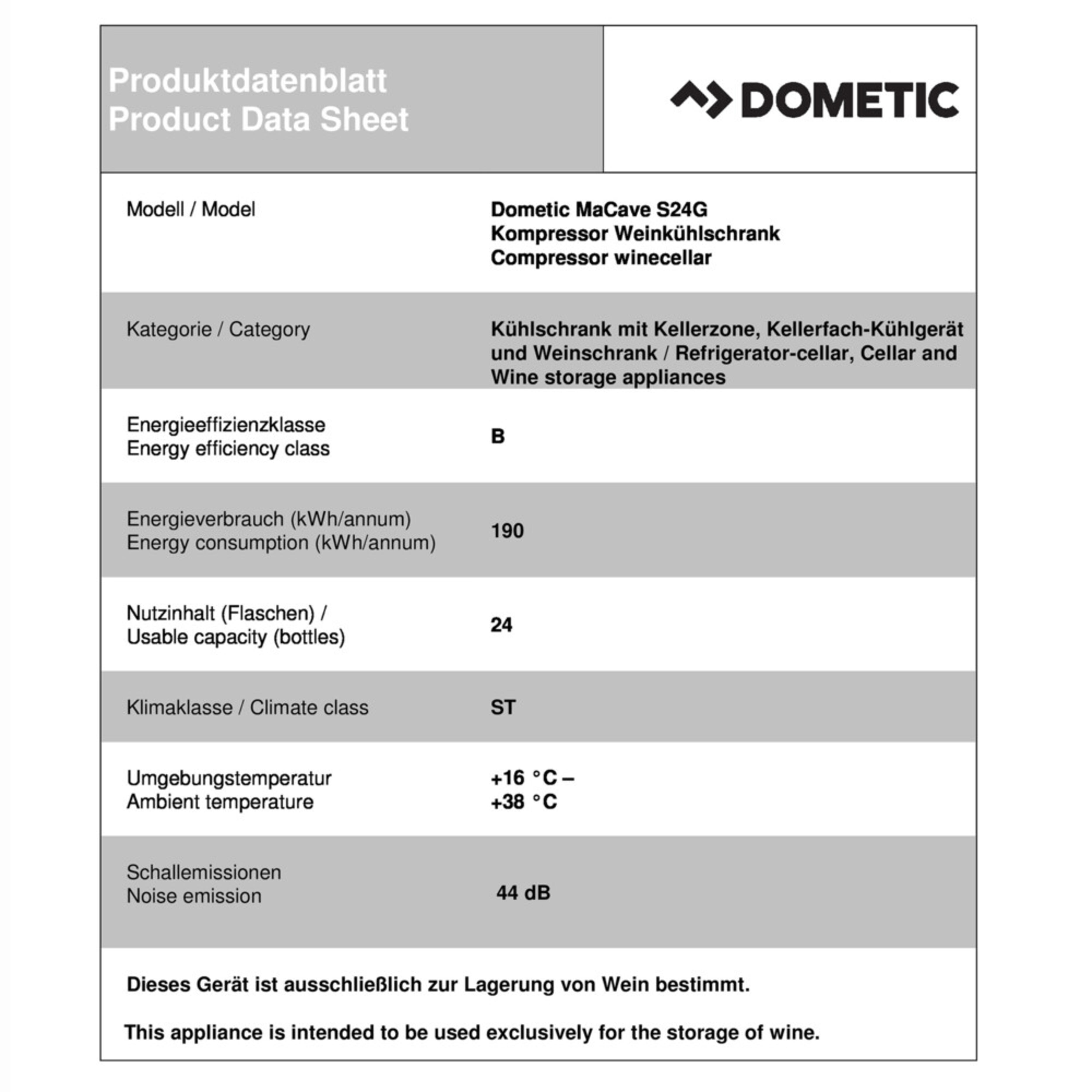 Dometic MaCave S24G Product fiche