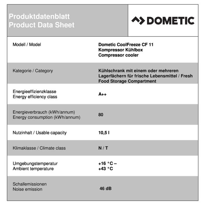Dometic CoolFreeze CF 11 Productkaart