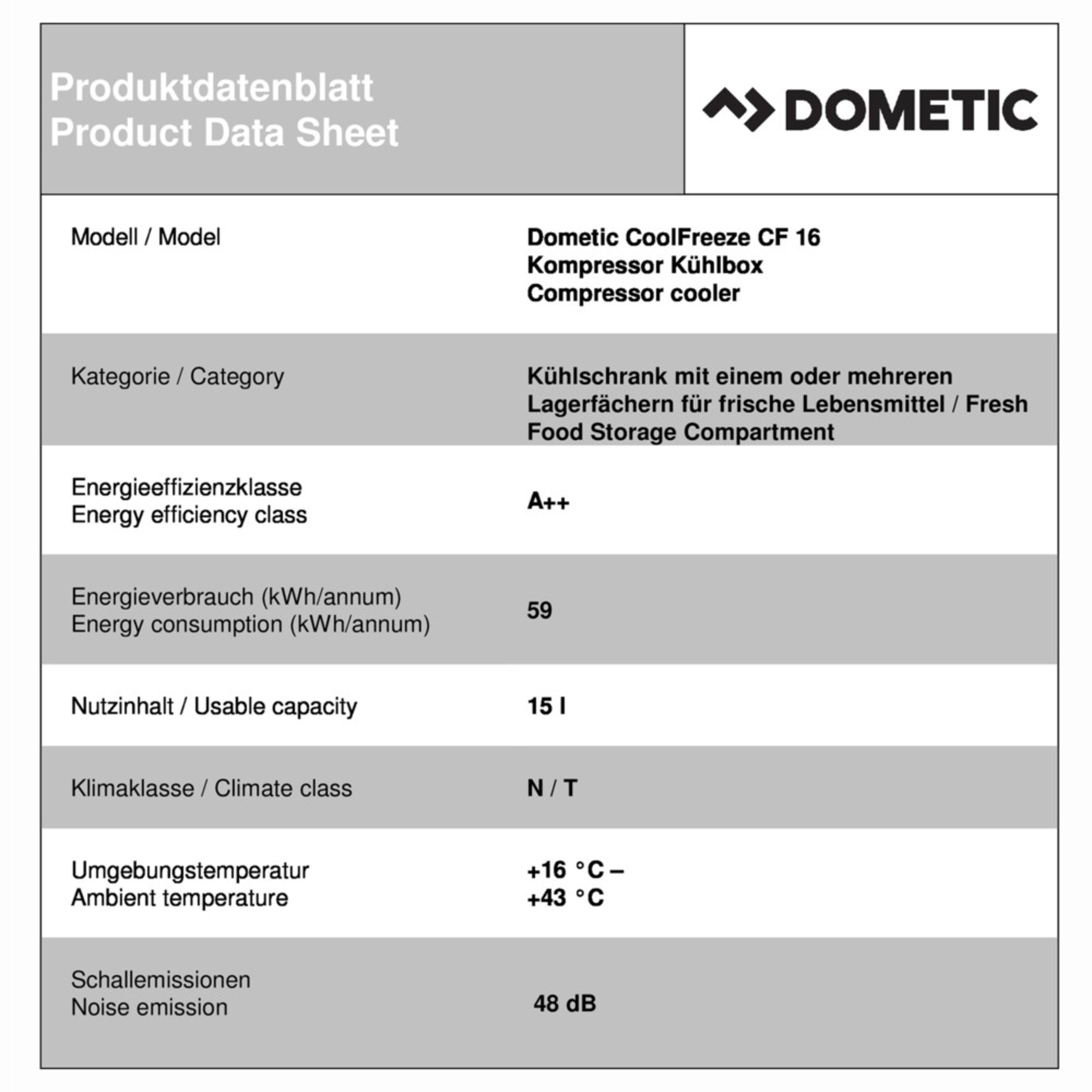 Dometic CoolFreeze CF 16 Productkaart