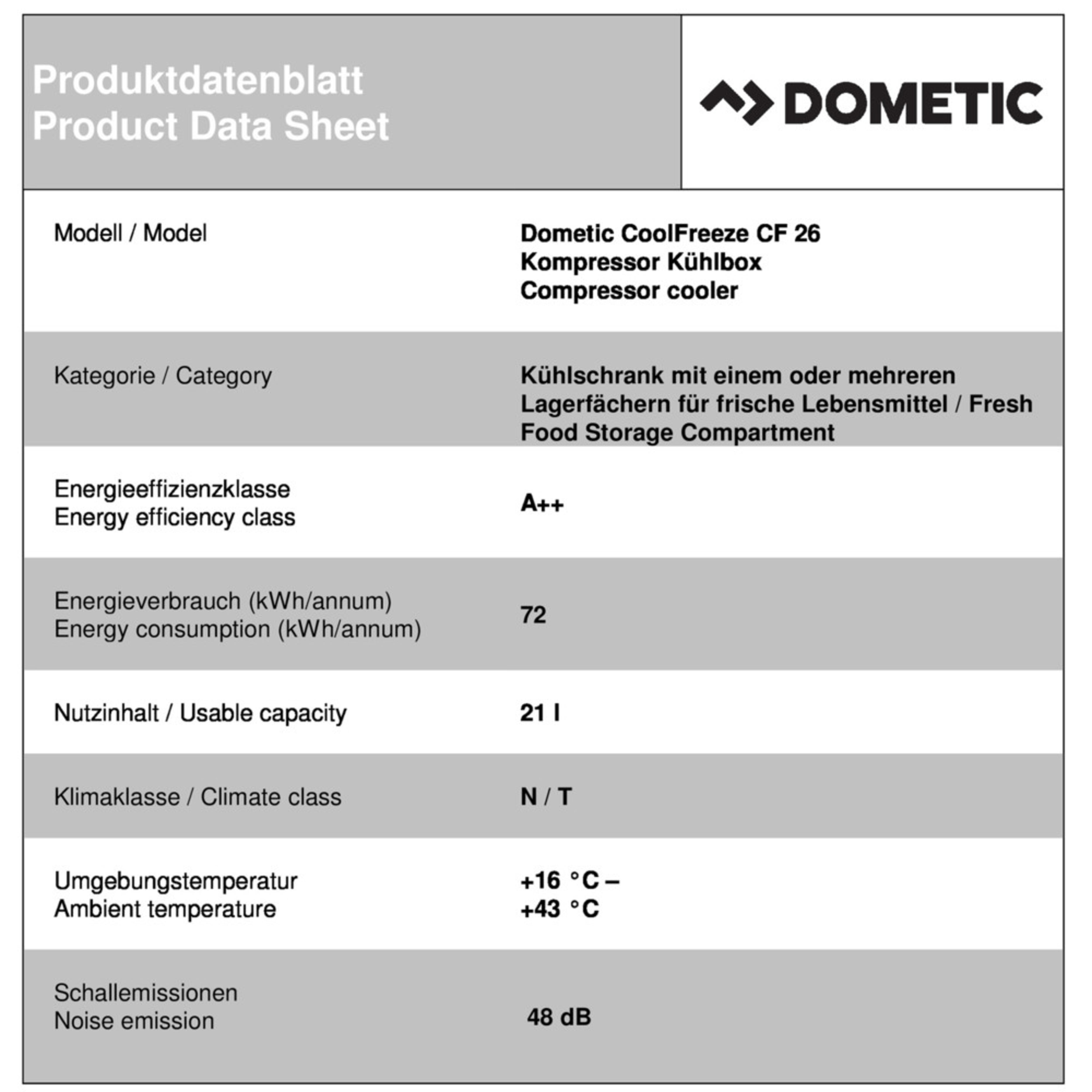 Dometic CoolFreeze CF 26 Productkaart
