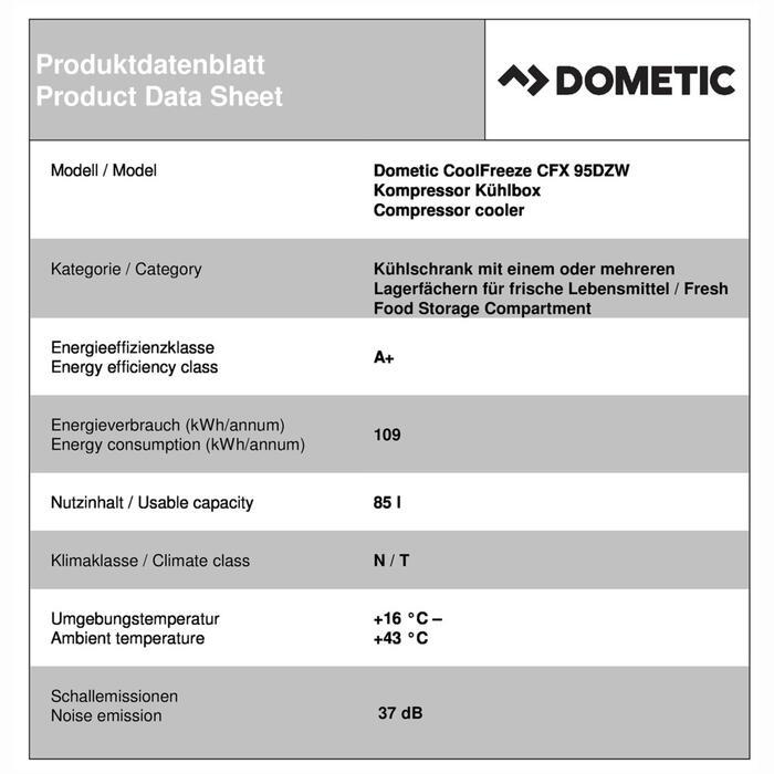Dometic CoolFreeze CFX 95DZW Productkaart