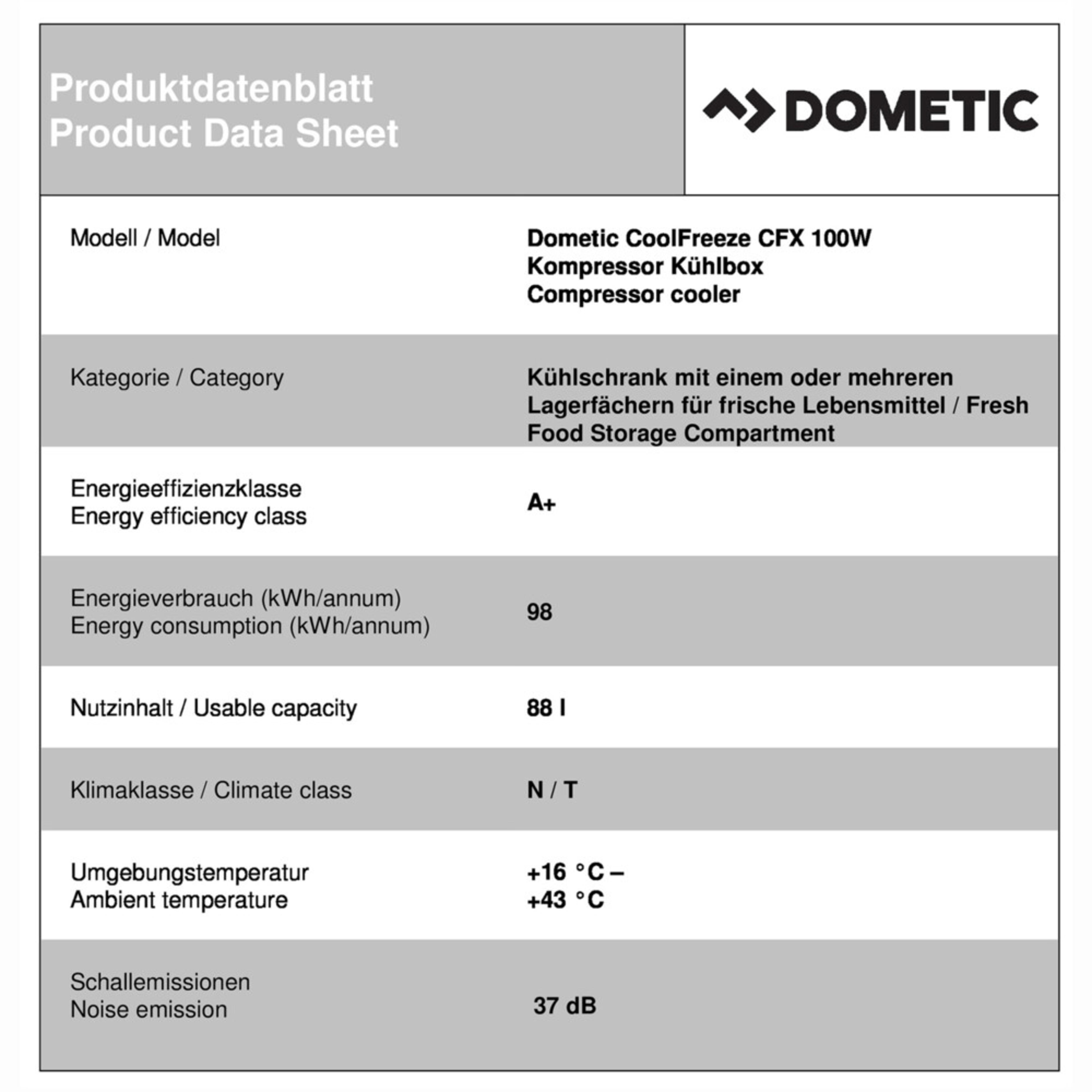 Dometic CoolFreeze CFX 100W Productkaart