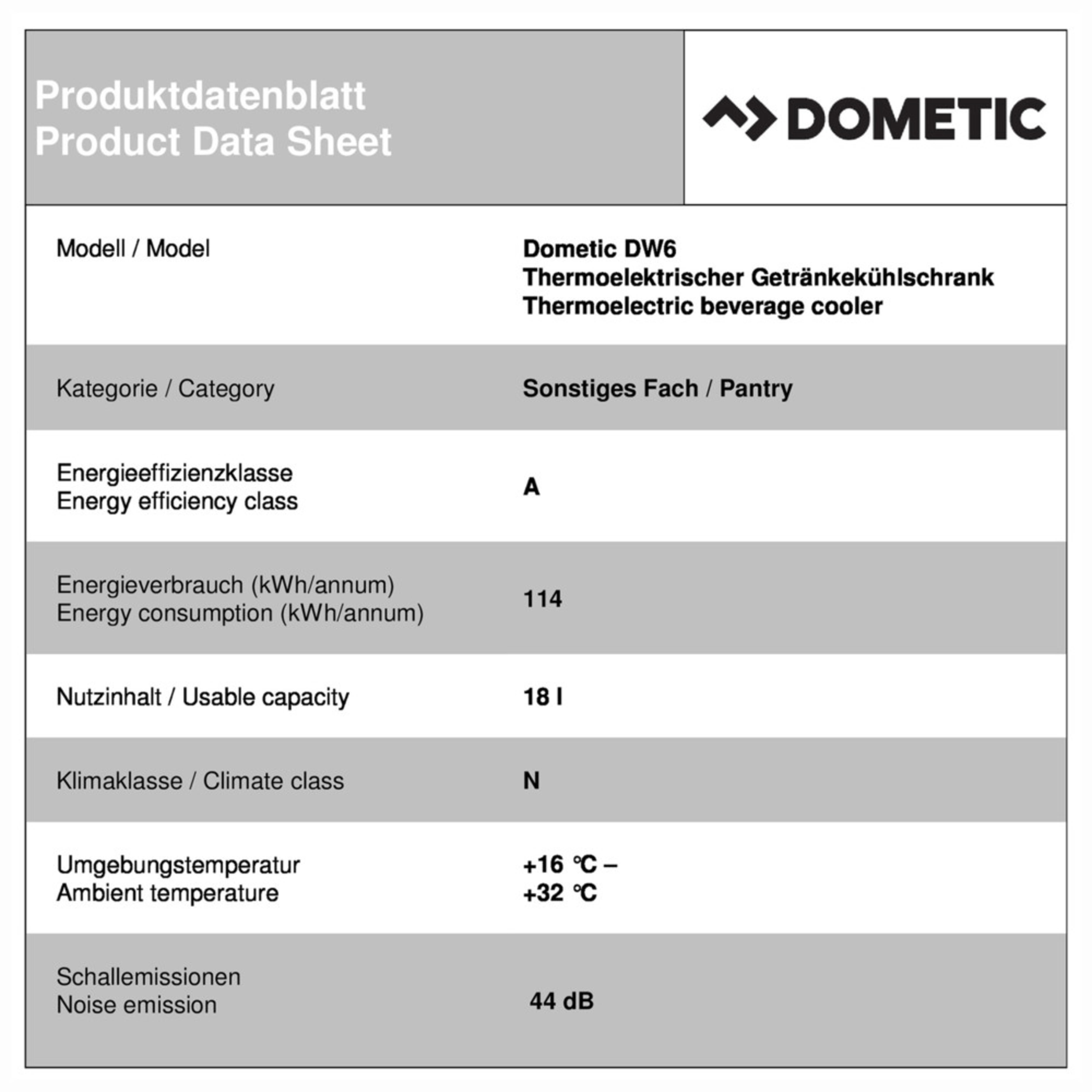 Dometic DW 6 Productkaart