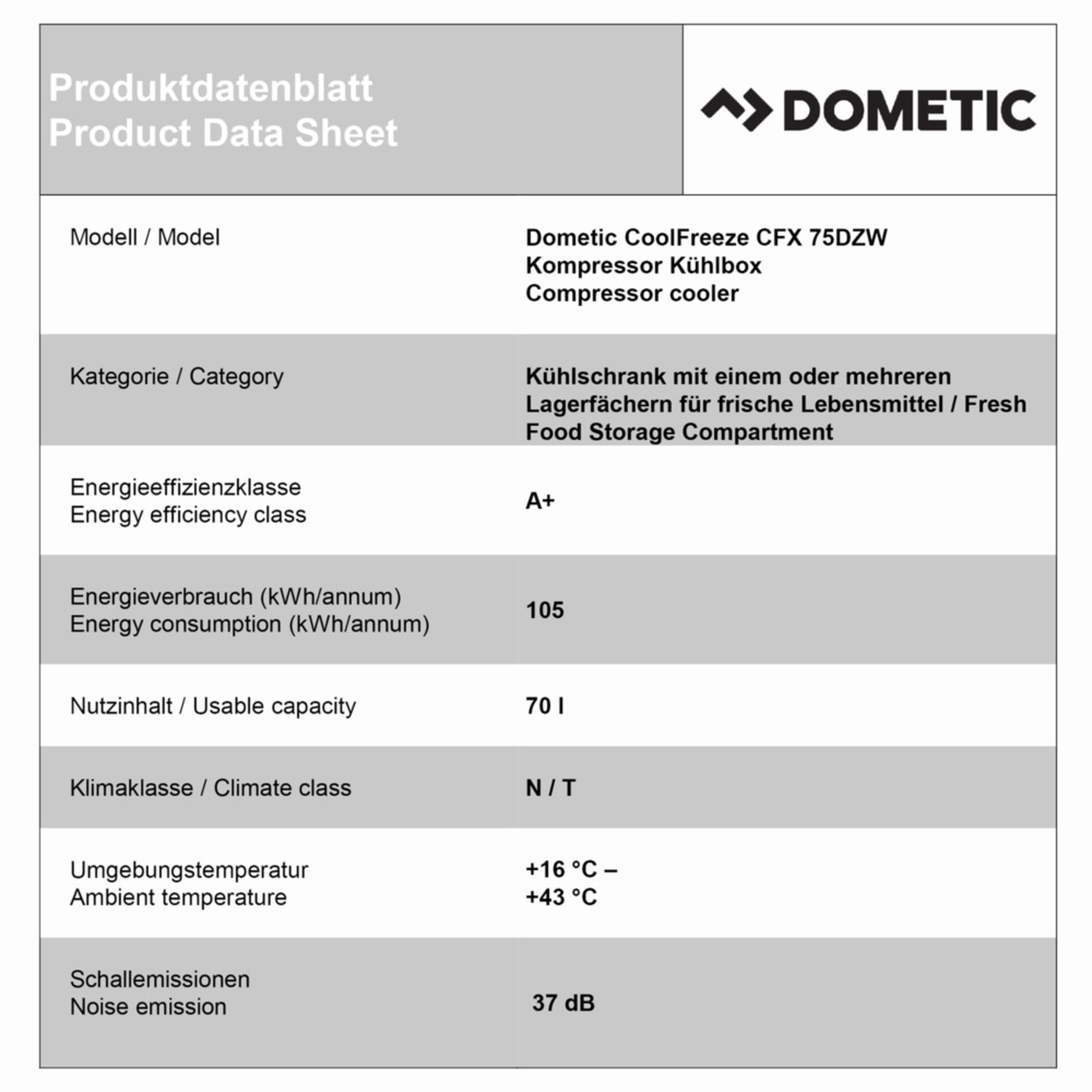 Dometic CoolFreeze CFX 75DZW Productkaart