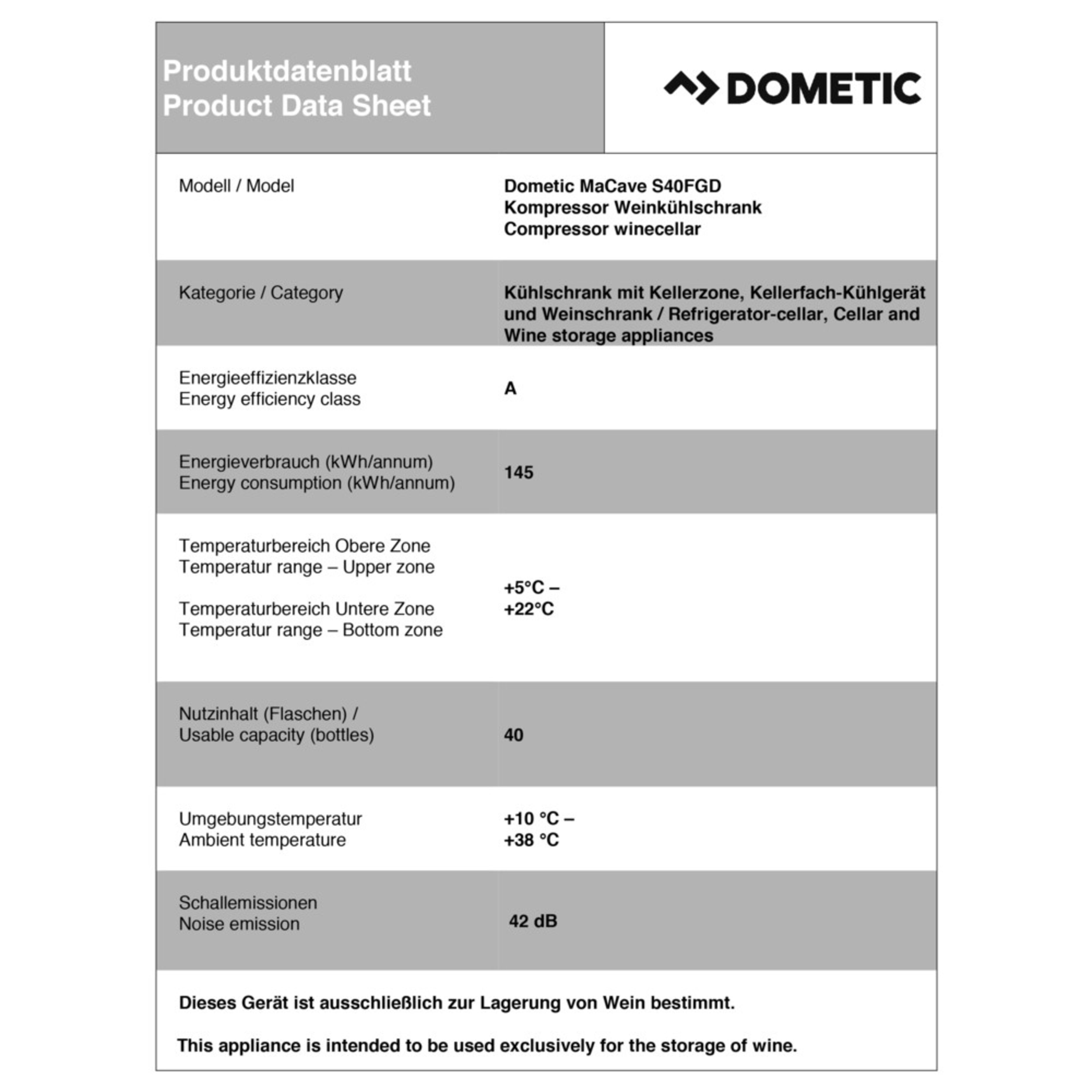 Dometic MaCave S40FGD Productkaart